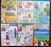 Taiwan Memorial Imprint:COVID-19 Prevention Stamp Exhibition MC (6 Pcs.) 2021 - Maximum Cards