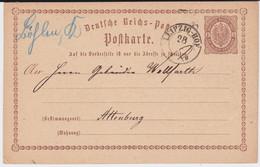Sachsen Nv Bahnpost K2 Leipzig - Hof Hds OA Böhlen Ganzsache DR Brustschild P 1 1874 - Sachsen