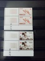 ALGERIE. 1957 . N° 343 Et 344 Paires Coins Datés 57.NEUFS SANS Charnières.Côte YT Colonies 2022 : 48,00 € + Coins Datés - Unused Stamps