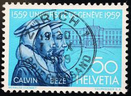 """Schweiz Suisse 1959: """"Jean Calvin"""" Zu 346 Mi 671 Yv 624 Mit Voll-Stempel Von ZÜRICH 7.X.1959 (Zu CHF 2.00) - Usados"""