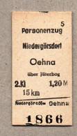X3] BRD - Pappfahrkarte -- Niedergörsdorf - Oehna über Jüterbog  - ( Personenzug) - Europe