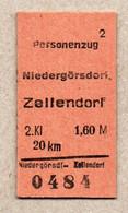 X3] BRD - Pappfahrkarte -- Niedergörsdorf - Zellendorf  - ( Personenzug) - Europe