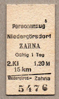 X3] BRD - Pappfahrkarte -- Niedergörsdorf - Zahna  - ( Personenzug) - Europe