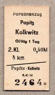 X3] BRD - Pappfahrkarte -- Papitz - Kolkwitz - ( Personenzug) - Europe