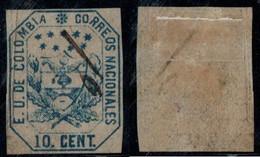 """19- KOLUMBIEN - 1863-1864 - 10 CTS - USED - """" MUTE PEN CANCEL """" - Colombia"""
