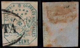 """21- KOLUMBIEN - 1863-1864 - 10 CTS - USED - """"BOGOTA PEARL """" - LIGHT BLUE - Colombia"""