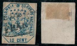 """25- KOLUMBIEN - 1863-1864 - 10 CTS - USED - """"MEDELLIN FRANCA """" - BLACK - Colombia"""