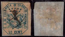 """26- KOLUMBIEN - 1863-1864 - 10 CTS - USED - """"MUTE PEN CANCEL """" - Colombia"""