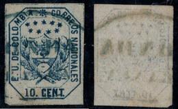 "27- KOLUMBIEN - 1863-1864 - 10 CTS - USED - ""HONDA FRANCA "" - BLUE - Colombia"