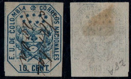 "28- KOLUMBIEN - 1863-1864 - 10 CTS - USED - ""SANTA ROSA "" - PEN CANCEL - RRR - Colombia"