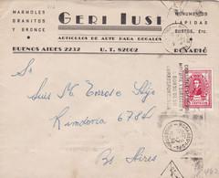 GERI IUSI. ARGENTINE ENVELOPPE COMMERCIAL. CIRCULEE 1947. ROSARIO A BUENOS AIRES.- LILHU - Lettres & Documents