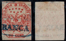 "31- KOLUMBIEN - 1863-1864 - 20 CTS - USED - ""MEDELLIN FRANCA "" - BLUE - Colombia"