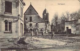 60 OISE Soldats Allemands Devant L'église Et Les Ruines De CARLEPONT + Cachets Feldpost + Censure Molsheim - Other Municipalities