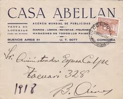 CASA ABELLAN PUBLICIDAD. ARGENTINE ENVELOPPE COMMERCIAL. CIRCULEE 1943. CORDOBA A BUENOS AIRES.- LILHU - Lettres & Documents