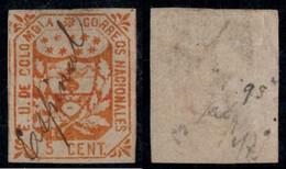 "34- KOLUMBIEN - 1864-1865 - 5 CTS - USED - ""ESPINAL"" - PEN CANCEL - TYPE II - Colombia"