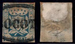 "35- KOLUMBIEN - 1864-1865 - 10 CTS - USED - ""BOGOTA OVAL"" - BLACK - THIN - Colombia"