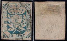 "36- KOLUMBIEN - 1864-1865 - 10 CTS - USED - ""BOGOTA PEARL"" - - Colombia"