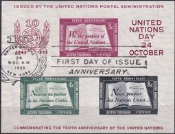 UNO NEW YORK 1955 Mi-Nr. Block 1 O Used - Blocks & Sheetlets