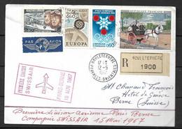 France Lettre  Recommandée Du 12 05 1967  1ère  Liaison Swissair Paris - Berne  De Bouleternière Pour  Berne - Eerste Vluchten