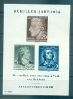 Allemagne - RDA 1955 - Y & T Feuillet N. 6 - Friedrich Schiller (Michel Feuillet N. 12 X II) - Blocks & Kleinbögen
