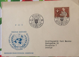 FDC First Day Cover Helsinki Finland FAO 1963 Freedom From Hunger Organization United Nations - Briefe U. Dokumente