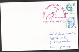 Amerika 1988, Card From North Bend To Beckum, Germany, Stamped With A Bird - Briefe U. Dokumente