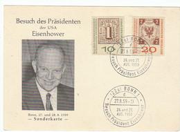 """BRD Nr. 310 - 311 B Q Auf SonderKarte """" Besuch Präsident Eisenhower"""" / Sonderstempel: Bonn 27.8.59 - Briefe U. Dokumente"""