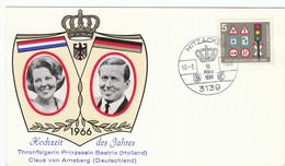 """BRD Nr. 468 Q Auf SonderKarte """"Hochzeit Des Jahres 1966 Beatrix + Claus"""" / Sonderstempel: 3139 Hitzacker 10.-3.1966 - Briefe U. Dokumente"""