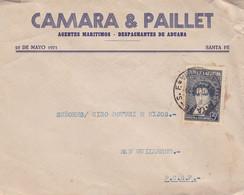 CAMARA & PAILLET, AGENTES MARITIMOS. ARGENTINE ENVELOPPE COMMERCIAL. CIRCULEE 1941. SANTA FE A SAN GUILLERMO.- LILHU - Lettres & Documents