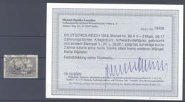 Dt. Reich Mi.Nr. 96 A II, 3 Mark Freimarke 1915 Gestempelt, Befund BPP (39605) - Gebraucht