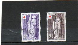 FRANCE    2 Timbres 0,80 F + 20 C  Et 1,00 F + 25 C   1976    Y&T:1910 Et 1911    Croix Rouge      Oblitérés - Gebraucht