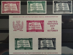 UN NEW YORK 1955 10th. ANNIV. 3 Stamp & S/S Set, Mint Lightly Hinged LH (mounted), Nice Set, Bargain Priced - Unused Stamps