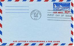 USA Aerogramme FDC Air Mail 10 C. Saint Louis 12-9-1958 - 3c. 1961-... Covers
