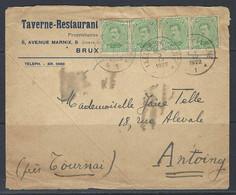 N°137 X4. 5c Geelgroen - Op Brief Stempel 3/04/1922 Bruxelles-Elsene >> Antoing (près Tournai) - Covers & Documents