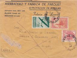 ASERRADERO Y FABRICA DE PARQUET. ARGENTINE ENVELOPPE COMMERCIAL. CIRCULEE 1954. MERCEDES.- LILHU - Lettres & Documents