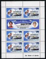 St Vincent - Grenadines 1985 Caribbean Royal Visit Opt On R Wedding Sheetlet Unmounted Mint, Top Stamp With 'dropped 5' - St.Vincent & Grenadines