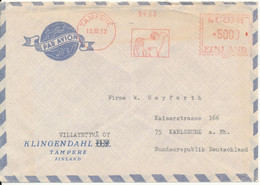 Finland Air Mail Cover With Meter Cancel Sent To Germany Tampere 19-10-1962 - Briefe U. Dokumente
