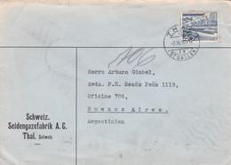 SCHWEIZ SEIDENGAZEFABRIK. SUISSE ENVELOPPE COMMERCIAL. CIRCULEE 1950. THAL A ARGENTINE.- LILHU - Cartas