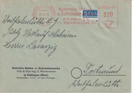 Absenderfreistempel - Hattingen, Ruhrtaler Nieten- Und Schraubenwerke, 1952 Mit Notopfer-Marke - Briefe U. Dokumente