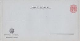 ARGENTINA. OFICIO POSTAL, MINISTERIO DEL INTERIOR. RARISIMO ENTERO DE 5 CENTAVOS, BERNARDINO RIVADAVIA. NO USADO.- LILHU - Entiers Postaux