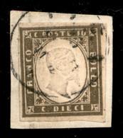 Antichi Stati Italiani - Sardegna - 1861 - 10 Cent Oliva Grigio Scurissimo (14Cb) - Usato Su Frammento - Cert Cardillo - Zonder Classificatie