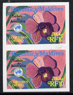 Maldive Islands 1984 'Ausipex' Stamp Exhibition Orchids 10Fr Imperf Pair - Maldiven (1965-...)
