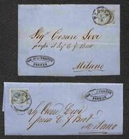 Lotti&Collezioni - Antichi Stati Italiani - Padova (19 Luglio/15 Agosto 1866) - Nove Lettere D'archivio Per Milano Con A - Non Classés