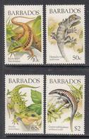 1988 Barbados Lizards Reptiles Complete Set Of 4 MNH - Barbados (1966-...)