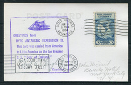 """1934 USA Byrd Antarctic Expedition, Little America """"S.S. Bear Of Oakland"""" Dog Team Postcard - Covers & Documents"""