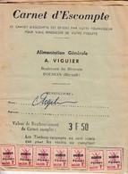 < Poussan Hérault Carnet D'escompte Alimentation Générale A Viguier .. 349 Timbres .. 1 Case Vide .. RRR Complet - Autres