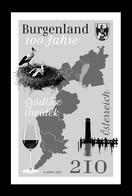 Austria 2021 Mih. 3611 Burgenland State. Fauna. Birds. Storks. Lake Neusiedl Lighthouse. Wine (black Proof) - Proofs & Reprints