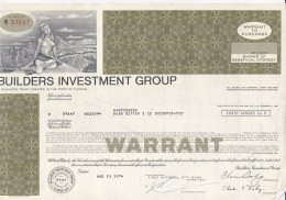 Shares:    Builders Investment Group - 100 Shares From 1974   (LAR7-24) - Sin Clasificación
