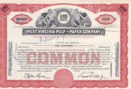Shares: West Virginia Pulp And Paper Company - 100 Shares From 1964  (LAR7-20) - Otros