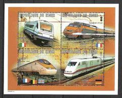 Niger 1997 Trains, Locomotives, Railway, Locomotives  - Railroads  I  Mi 1294-1297 In Bloc / Minisheet MNH(**) - Trains